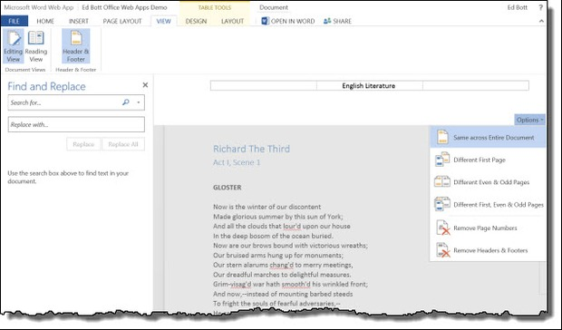 Die Word Web App enthält jetzt Suchen und Ersetzen (Screenshot: Microsoft).