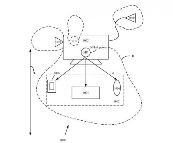 Ein weiteres Apple-Patent beschreibt einen virtuellen Ladebereich, um beispielsweise Tastatur und Maus mit Strom zu versorgen (Bild: Apple/USPTO).