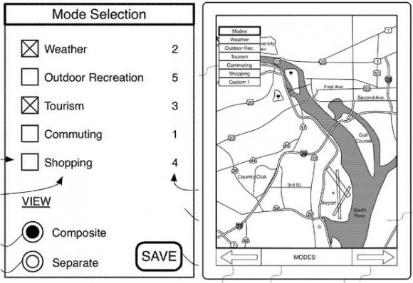 """Ein Patentantrag von Apple beschreibt eine neue App für """"interaktive Karten"""" (Bild: Apple / USPTO)."""