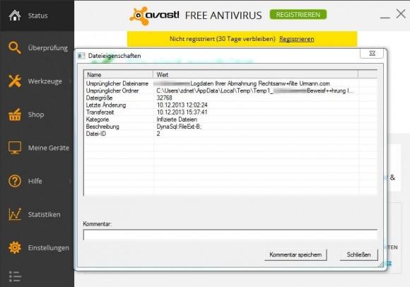 Aktuelle Virenscanner erkennen die Malware der Phishing-Mail.