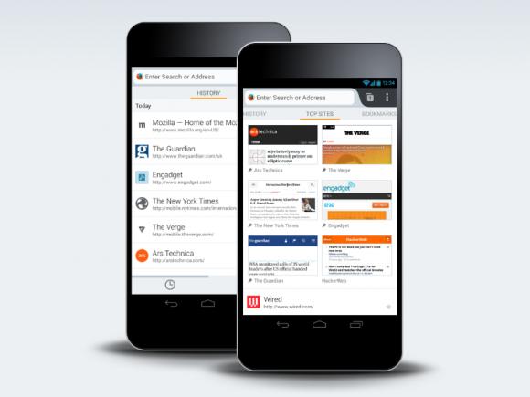 Der neue Startbildschirm von Firefox für Android gibt schnellen Zugriff auf Top Sites, Verlauf, Lesezeichen und Leseliste (Bild: Mozilla).