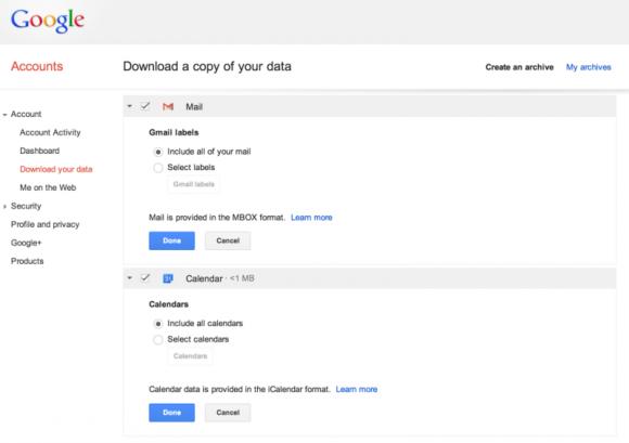 Bald sollen sich auch Gmail-Daten archivieren lassen (Bild: Google).