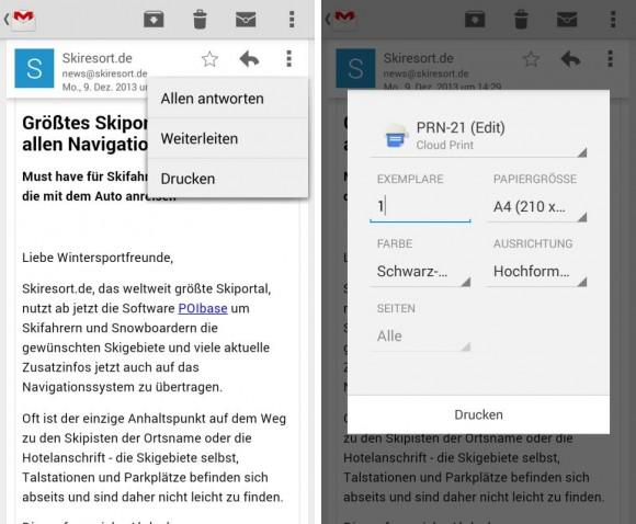 Gmail 4.7 für Android: Druckfunktion