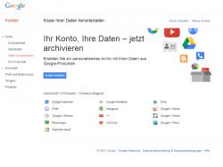 Die Archivierungsfunktion unterstützt bisher 13 Google-Produkte (Screenshot: ZDNet).