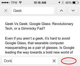 Suchen und Ersetzen mit Drive für iOS (Screenshot: Google)