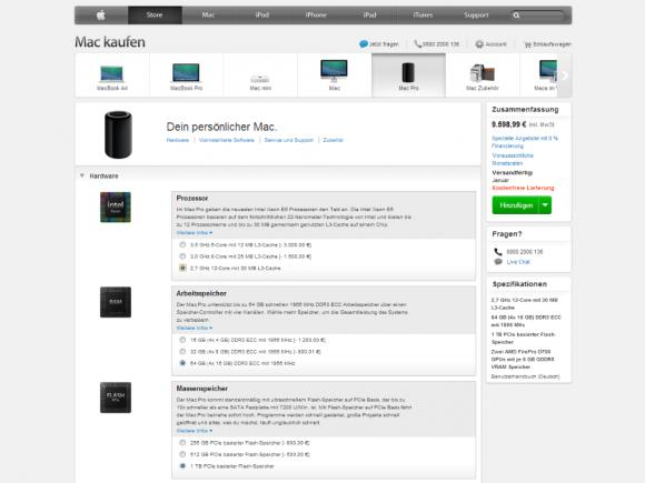 Für die Spitzenkonfiguration des Mac Pro verlangt Apple knapp 9600 Euro (Screenshot: ZDNet.de).