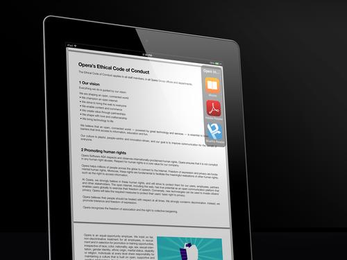 Aus Coast heraus können Nutzer PDF-Dateien auch in iBooks oder Adobe Reader öffnen (Bild: Opera).