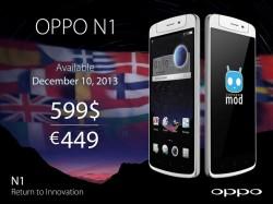 Das Oppo N1 ist ab dem 10. Dezember für 449 Euro erhältlich (Bild: Oppo).