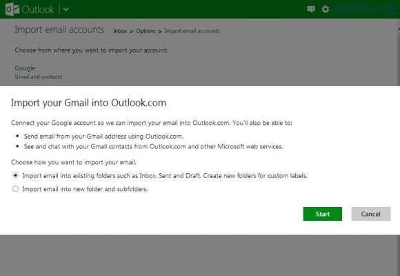 Beim Import von Nachrichten aus Gmail übernimmt Outlook.com auch eine vorhandene Ordnerstruktur (Screenshot: ZDNet).