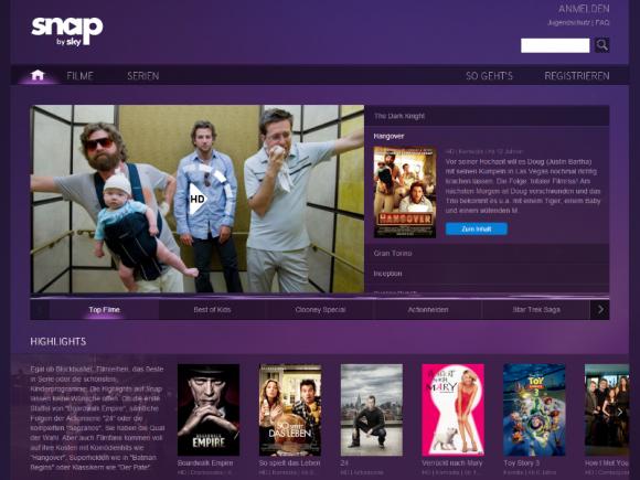 Snap steht auch Nutzern ohne Sky-Abo offen (Screenshot: ZDNet.de).