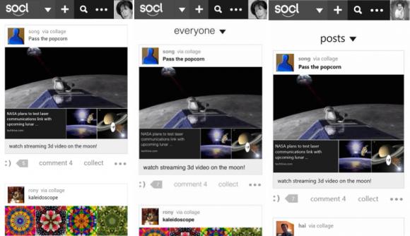 Von links nach rechts: Socl-App für Android, iOS und Windows Phone (Bild: Microsoft)