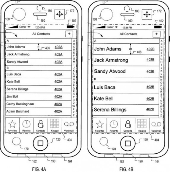 Apple entwickelt ein Bedienoberfläche für Mobilgeräte, die sich an Bewegungen des Nutzers anpasst, um Eingabefehler zu verhindern (Bild: Apple/USPTO).