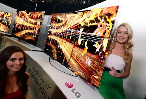Biegsamer OLED-Fernseher mit 77 Zoll Diagonale (Bild: LG)