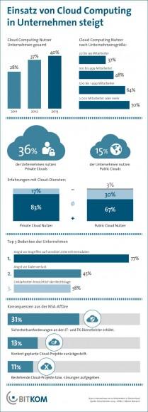 Das Wachstum beim Cloud-Computing hat sich infolge der NSA-Affäre verlangsamt (Grafik: Bitkom).