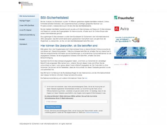 Auf der BSI-Seite lässt sich überprüfen, ob die eigene E-Mail-Adresse kompromittiert wurde (Screenshot: ZDNet.de).