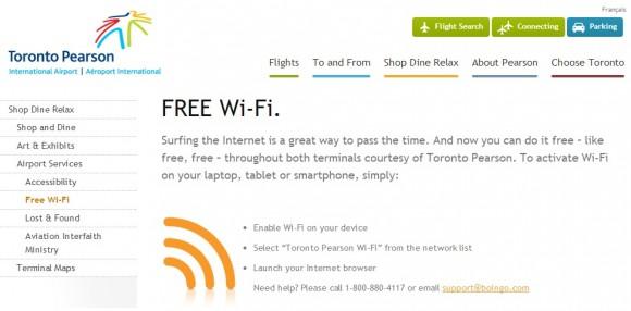 Der Flughafen Toronto bietet kostenloses WLAN, gibt die Daten aber angeblich an niemanden heraus (Screenshot: ZDNet).