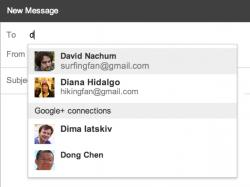 Bei Eingabe des Empfängers zeigt Gmail eine Liste an, in der Kontakte mit und Google+-Verbindungen ohne E-Mail-Adresse getrennt aufgeführt werden (Bild: Google).