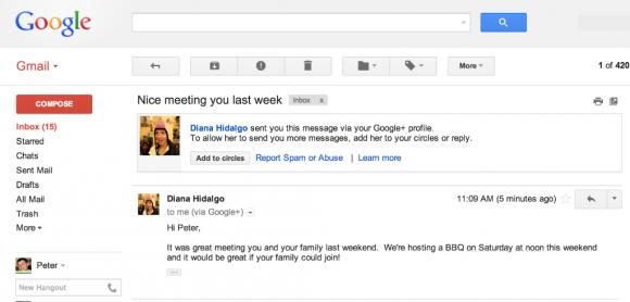 Erhält man über sein Google+-Profil eine E-Mail von einem unbekannten Absender, kann man ihn direkt in Gmail zu seinen Kreisen hinzufügen oder ihn als Spammer melden (Bild: Google).