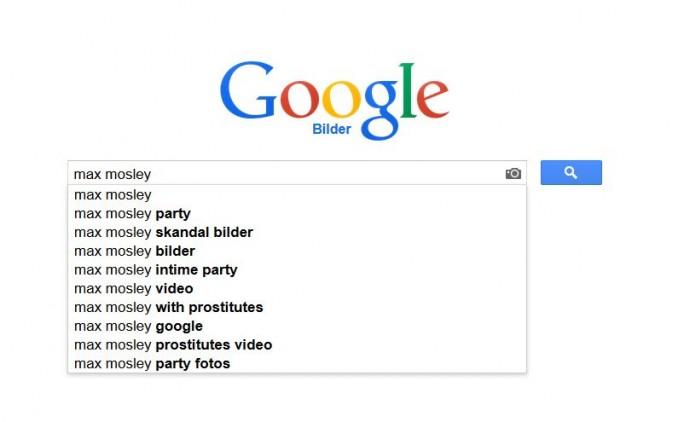Wenig schmeichelhaft: die vorgeschlagenen Suchbegriffe bei der Google-Bildersuche zum Namen Max Mosley am 24. Januar 2014 (Screenshot: ITespresso).