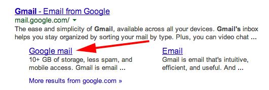 Ein Klick auf den markierten Link führte zwar zu Gmail, trug laut Search Engine Land aber einen Fremden als Empfänger ein (Screenshot: Search Engine Land).