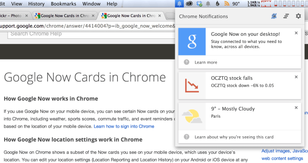 Google-Now-Benachrichtigungen in Chrome (Screenshot: News.com)