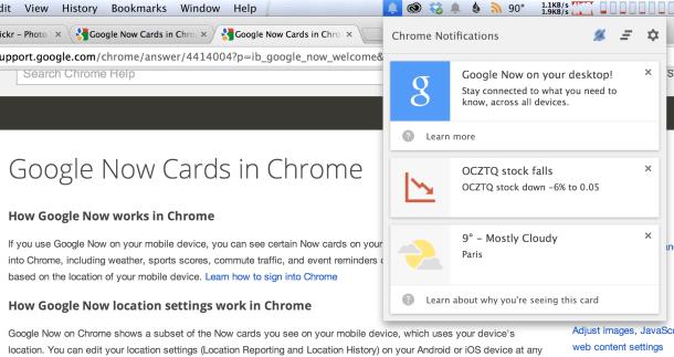 Google-Now-Benachrichtigungen in Chrome (Screenshot: News.com)