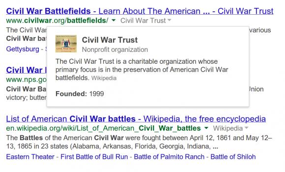 Die amerikanische Google-Suche zeigt ab sofort Hintergrundinformationen aus Knowledge Graph zu Ergebnissen an (Bild: Google).