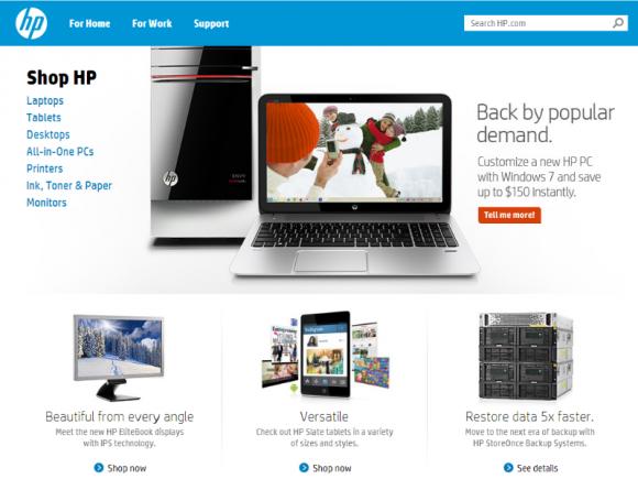 In den USA bewirbt HP offensiv Windows-7-PCs (Screenshot: ZDNet.de).