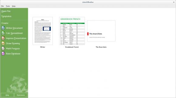 Der neue Startbildschirm von LibreOffice 4.2 (Bild: TDF)