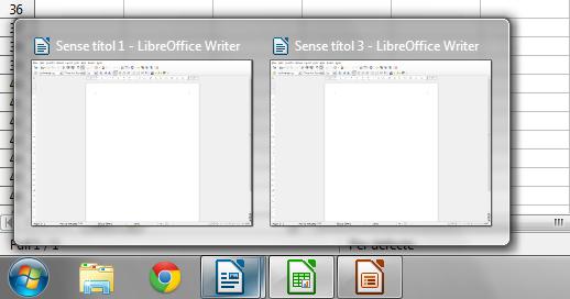 In der Windows-Taskleiste werden geöffnete LibreOffice-Fenster nun nach Anwendungen sortiert gruppiert (Bild: TDF).