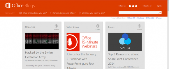 Microsofts Office-Blog gehackt (Screenshot: SEA)