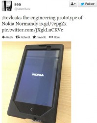 Angeblicher Prototyp des Nokia Normandy auf Twitter (Screenshot: News.com)