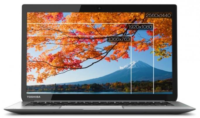 Das Kira-10J bietet einen 13,3-Zoll-Touchscreen mit 2560 mal 1440 Pixeln Auflösung (Bild: Toshiba).