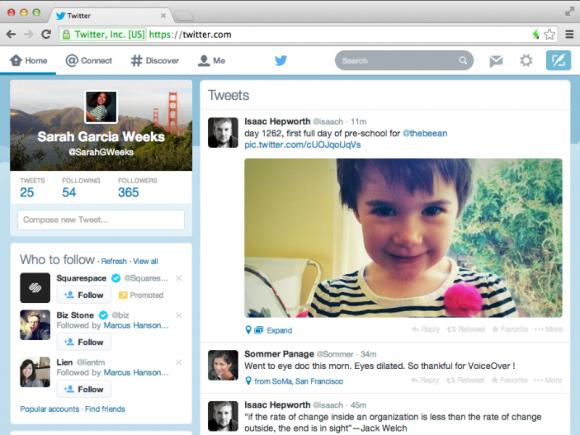 Das überarbeitete Design der Twitter-Website orientiert sich an den Mobilanwendungen (Bild: Twitter).