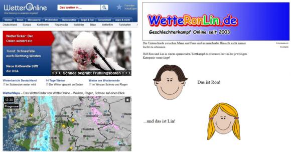 Auf wetteronline.de bekommt man wie vermutet Informationen zur Wetterlage, während wetteronlin.de sich anderen, nicht auf Anhieb mit dem Domainnamen assoziierten Inhalten widmet (Screenshots: ITespresso.de).