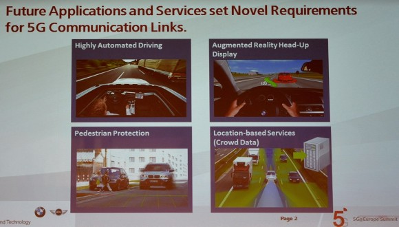 Stark vernetzte und selbst-fahrende Autos werden enorme-Internet-Kapazitäten benötigen, die man nur mit 5G-Mobilfunknetzen in der Breite wird befrieden können (Quelle: Dr. Sebastian Zimmermann, BMW)