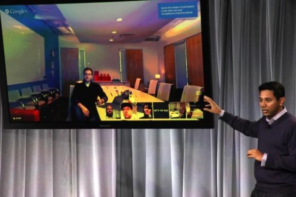 Chromebook-Produktmanager Caesar Sengupta stellt die Videokonferenzlösung in der Google-Zentrale in Mountain View vor (Bild: Seth Rosenblatt / CNET)