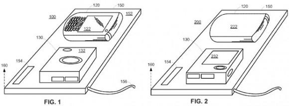 Apple hat sich eine intelligente Docking-Station patentieren lassen, die Mobilgeräte aufladen und synchronisieren kann (Bild: Apple/USPTO).