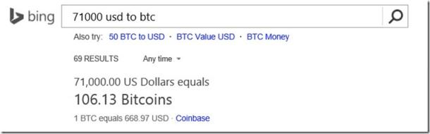 Bitcoin-Kurs bei Bing (Screenshot: Microsoft)
