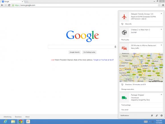 Die Google-Now-Integration kann mit der jüngsten Beta von Chrome getestet werden (Bild: Google).
