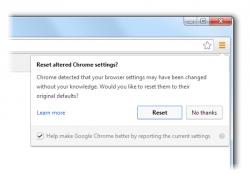 Chrome weist Windows-Nutzer in einem Pop-up-Fenster darauf hin, wenn Einstellungen ohne seine Zustimmung verändert wurden (Bild: Google).