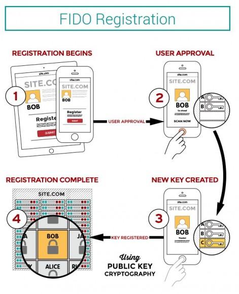 Bei der erstmaligen Authentisierung an einem FIDO-gestützten Authentisierungsserver generiert der FIDO-Protokollstapel auf dem Endgerät ein Schlüsselpaar – aber nur dann, wenn sich der Anwender zuvor am Gerät ausgewiesen hat (Bild: FIDO Alliance).