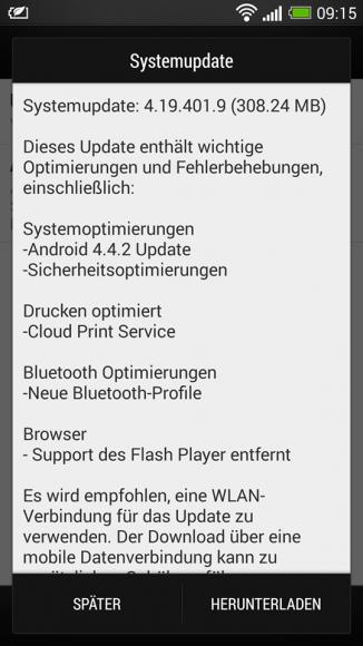 Das KitKat-Update für das ungebrandete HTC One ist rund 308 MByte groß (Bild: HTC).