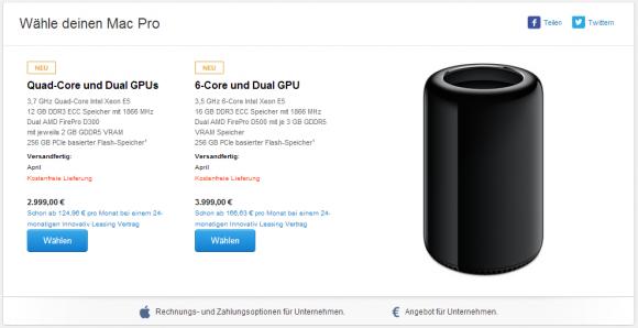 Aktuell gilt für den neuen Mac Pro ein Versandtermin im April (Screenshot: ZDNet.de).