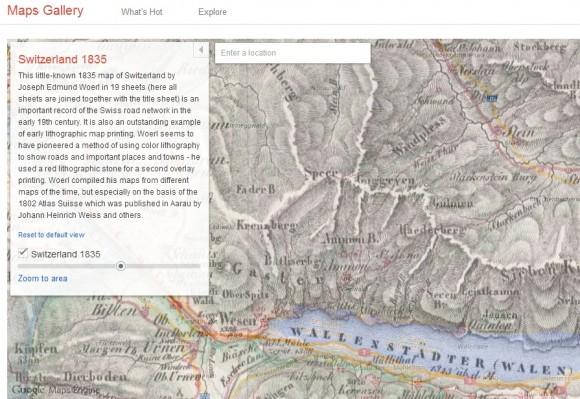 Der Militärpass Vorderhöhi von Starkenbach an den Walensee war 1835 noch nicht ausgebaut, lässt sich aber auf der transparent durchscheinenden Google-Map erkennen (Screenshot: ZDNet bei Google Maps Gallery).