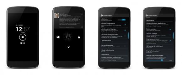Active Display aktiviert bei eingehenden Benachrichtigungen den Bildschirm und zeigt sie an.