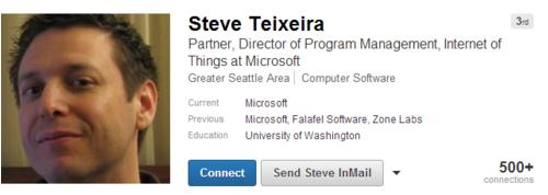 LinkedIn-Profil von Steve Texeira (Screenshot: ZDNet.com)