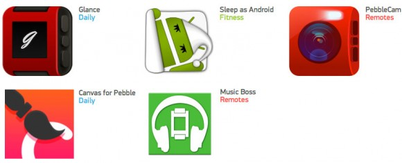 "Empfohlene ""Android Companion Apps"" im Pebble-App-Store (Bild: Pebble)"
