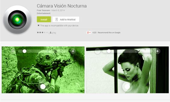 Gefährliche App: Camera Vision Nocturna (Screenshot Avast)