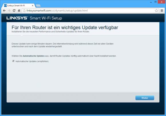 Linksys EA6900: Softwareupdates holt sich der EA6900 automatisch. (Bild: ZDNet.de)